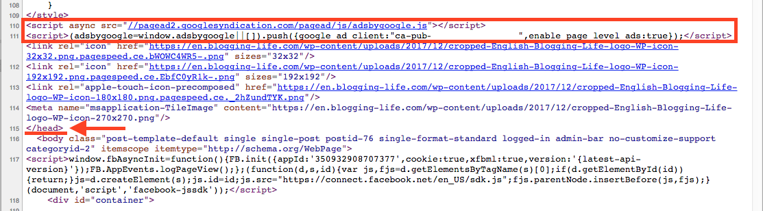 Page-level ads code is located in the <head> tag.