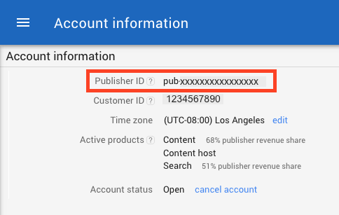 Copy AdSense Publisher ID