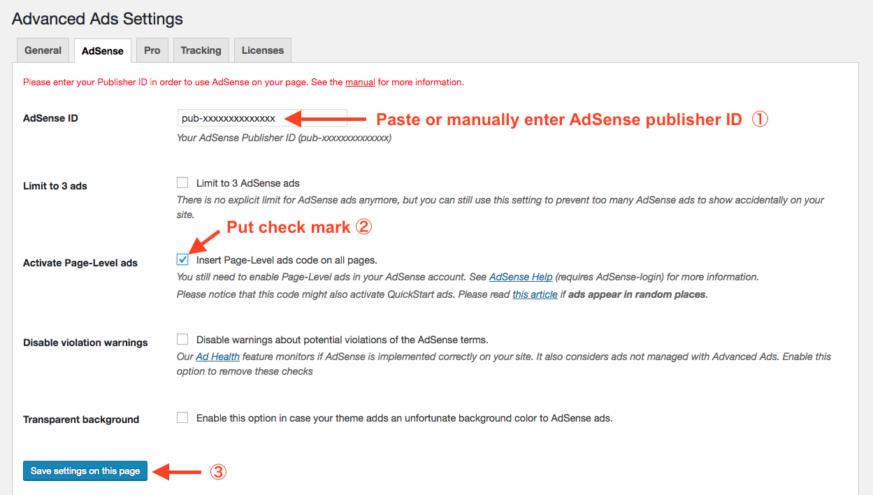 Setting up AdSense Page-level ads on Advanced Ads