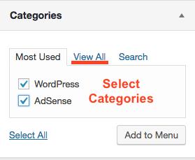 Add Category items to menu