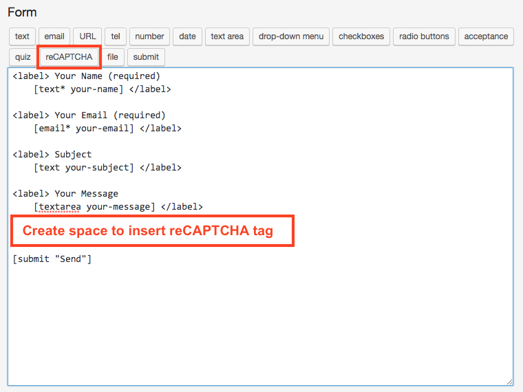 Create space for reCAPTCHA tag in contact form