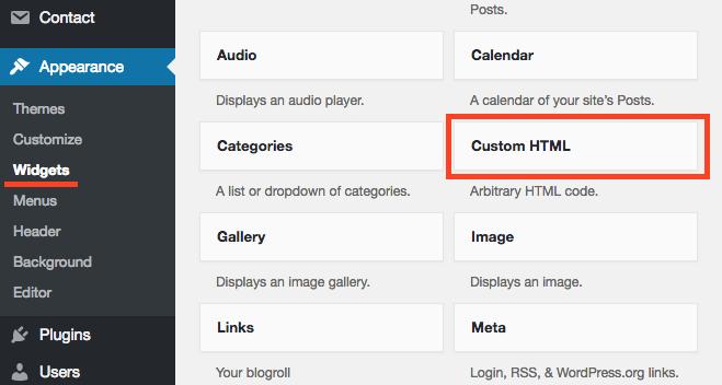 Choose Custom HTML widget