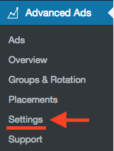 Click Advanced Ads Settings