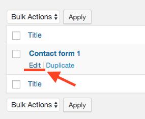 Click Edit on contact form