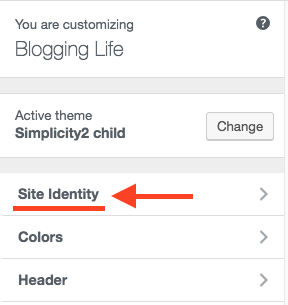 Click Site Identity on Customize WordPress