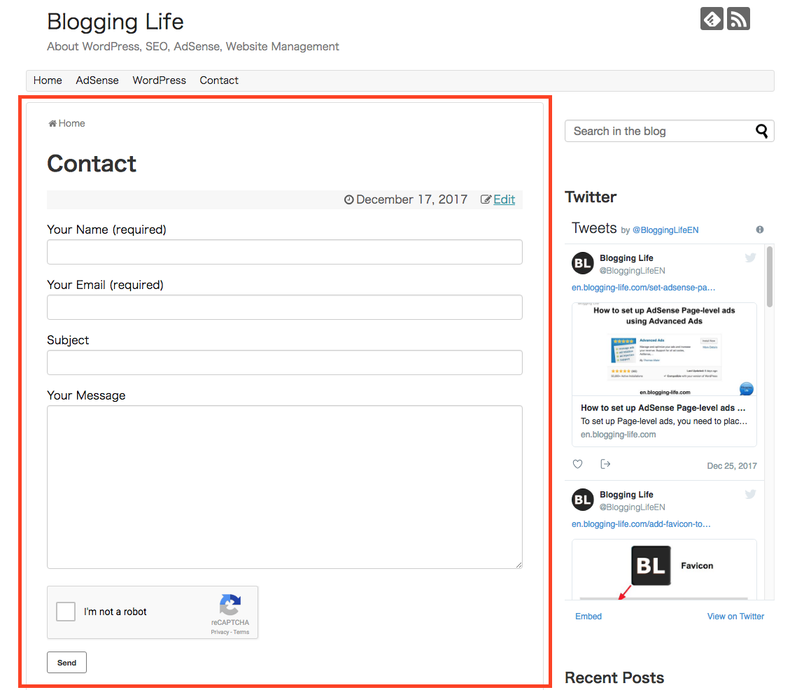 Viewing contact page just created