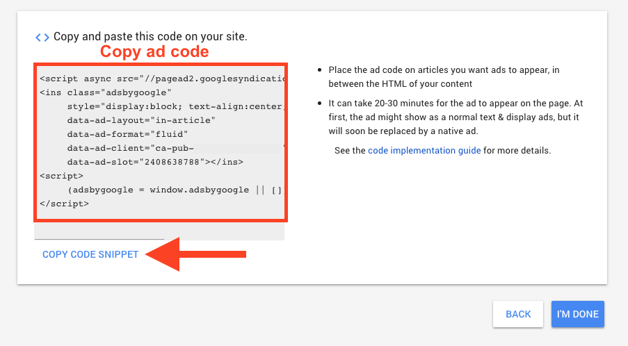 Copy In-article ad code