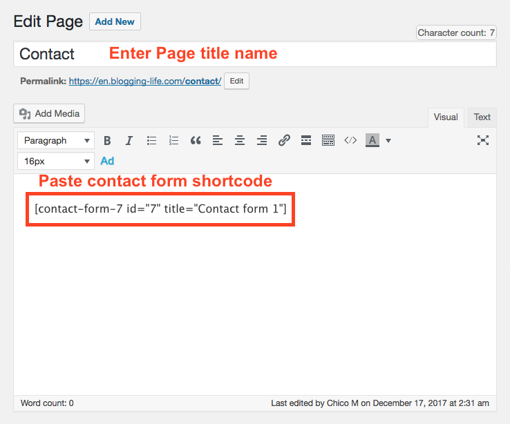 Create Contact Page