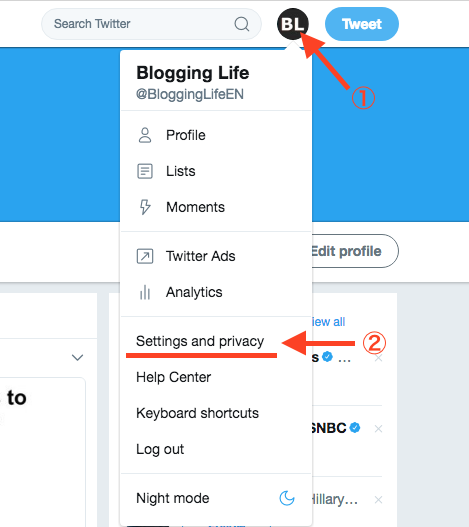 Go to Twitter settings and privacy