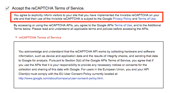 Google Invisible reCAPTCHA terms of service