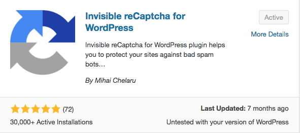 Install Invisible reCAPTCHA for WordPress plugin