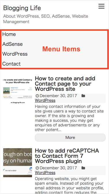 Menu items on mobile
