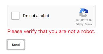 Message to require reCAPTCHA validation