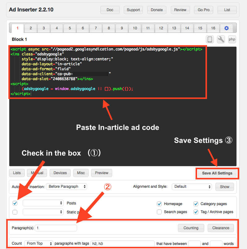 Paste In-article ad code in Ad Inserter ad box