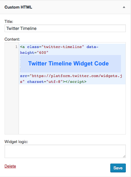 Paste Twitter Timeline widget code into Custom HTML widget