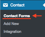 Select Contact Forms in WP dashboard menu