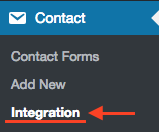 Select Integration from Contact Form 7 menu