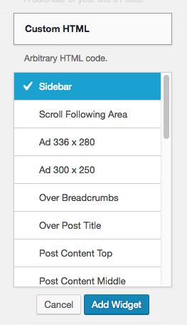 Select widget location to sidebar