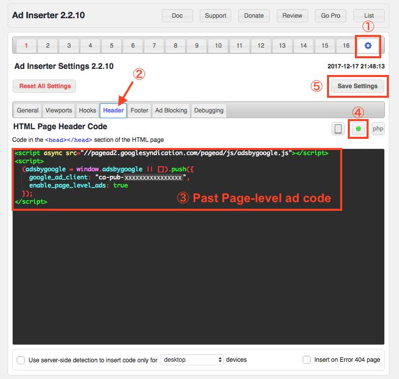 Set up Page-level ads on Ad Inserter