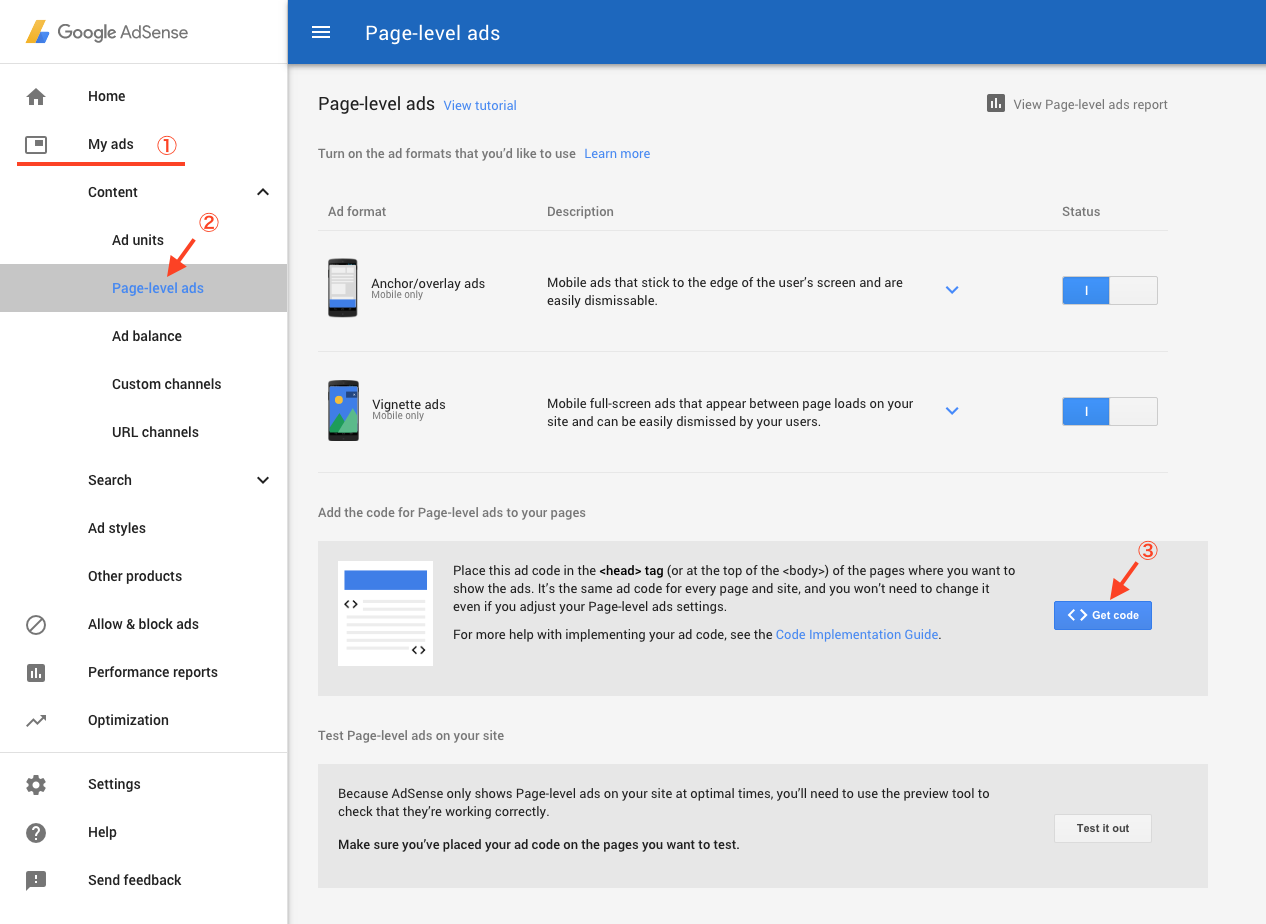 Get and copy AdSense Page-level ads