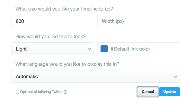 Twitter widget customization options