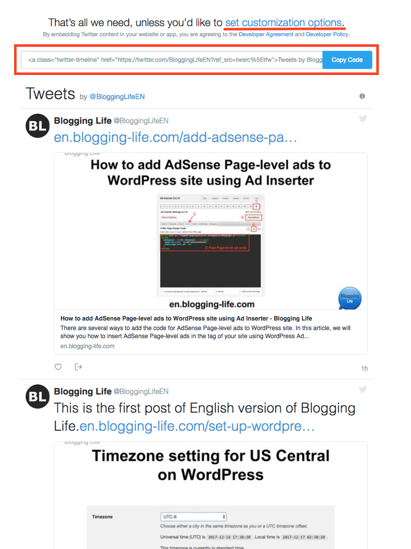 Twitter Timeline widget is created