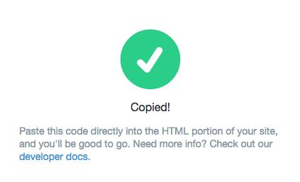 Widget code is copied