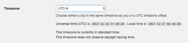 Choose UTC-6 timezone for US Central on WordPress