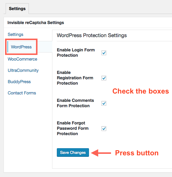 Enable Invisible reCAPTCHA in each form on WordPress