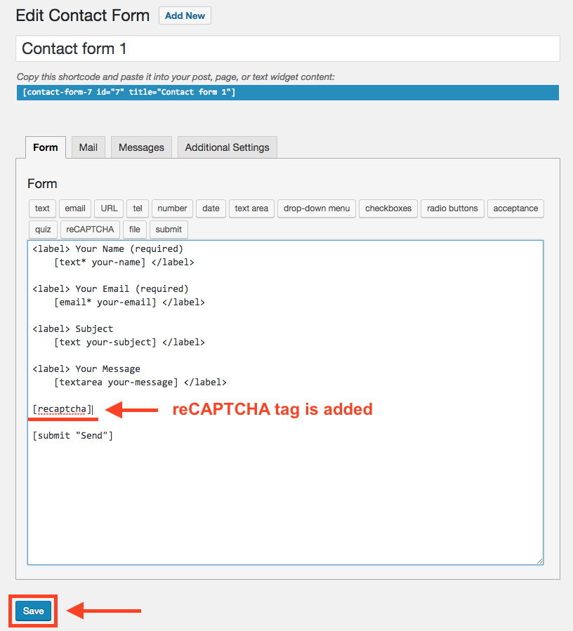 reCAPTCHA tag is added to the contact form
