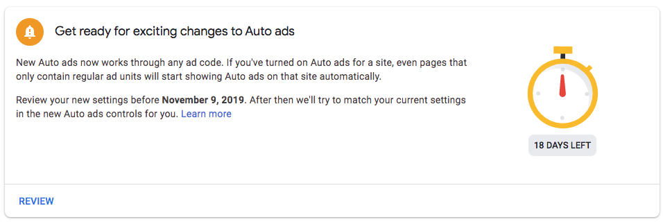 AdSense notification Auto Ads enhancements and changes