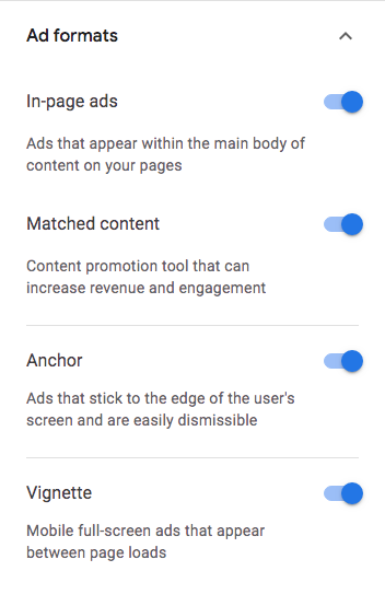AdSense auto ad formats on/off setting