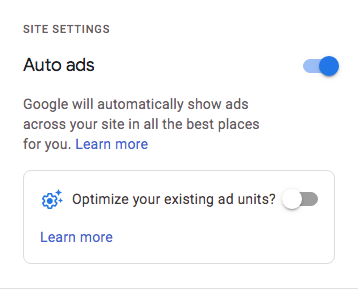 AdSense auto ads enabled (switch on)