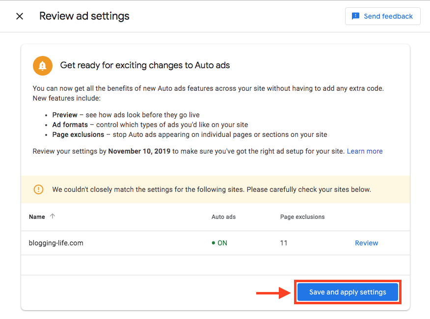 Confirmation of Auto ad settings