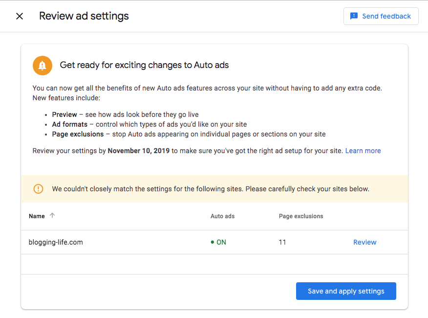 Review ad settings